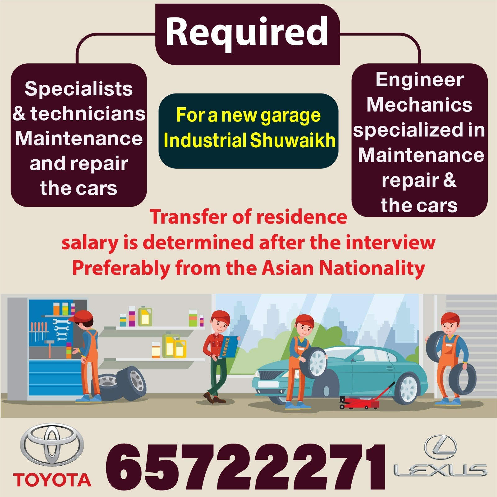 required engineer mechanics specialized in maintenance repair & the cars